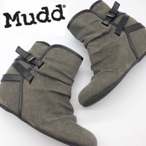 MuDD Gray Slouch Buckle Hidden Wedge Bootie 10